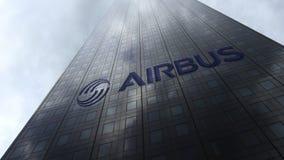 Flygbusslogo på reflekterande moln för en skyskrapafasad Redaktörs- tolkning 3D Royaltyfri Fotografi