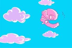 Flyger den rosa le elefanten för den roliga tecknade filmen i himlen med moln Arkivbild