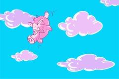 Flyger den rosa le elefanten för den roliga tecknade filmen i himlen med moln Royaltyfri Foto