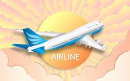 Flyget av en passagerareeyeliner _ Resor Färgrik himmel, ljus sol och rosa moln Effekten av snittpapper stock illustrationer