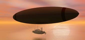 flyget för fantasi 3d framför steamshipen Royaltyfri Foto