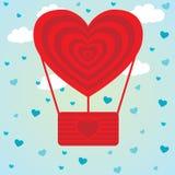 Flyget för hjärta för ballongen för illustrationen för valentindagvektorn i himlen fördunklar bakgrund feriekort Arkivbilder
