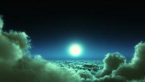 flyget för natten 4k i moln samlas, månen & himmelhimmel, yttre rymd för hög höjd vektor illustrationer