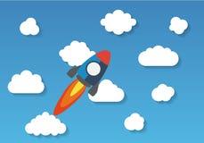 Flyget för utrymmeraket i himmel, lägenhetdesign färgade royaltyfri illustrationer