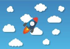 Flyget för utrymmeraket i himmel, lägenhetdesign färgade vektor illustrationer