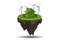 Flyget som svävar ön i det gröna energibegreppet - tolkning 3d Fotografering för Bildbyråer