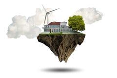 Flyget som svävar ön i det gröna energibegreppet - tolkning 3d Arkivbild