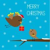 Flygfågeln och behandla som ett barn fågeln. Glad julkort. Arkivfoto