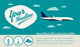 Flygflygplan med det symbols-, rubrik- och textområdesbanret Royaltyfri Bild