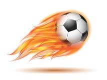 Flygfotboll- eller fotbollboll på brand Arkivbilder