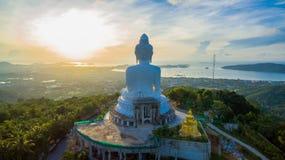 flygfotografering den vita stora Phuket's stora Buddha i Fotografering för Bildbyråer
