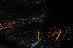Flygfotografering på natten Arkivfoto
