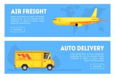 Flygfrakter uppsättning för automatiskleveranshorisontalbaner, kommersiellt sändande trans., last som spårar servicevektorn stock illustrationer