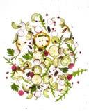 Flygfrukter och grönsaker på ljus vit Arkivfoto