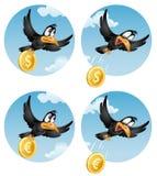 Flyggalandet tappar det myntdollaren eller euroet Royaltyfria Bilder