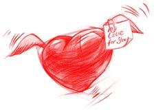 Flyghjärta med meddelandet, skissar teckningen Royaltyfria Bilder