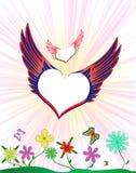 Flyghjärta med vingar arkivfoton
