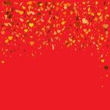 Flyghjärtakonfettier Vektorillustration för feriedesign Många som flyger guld- hjärtor på röd bakgrund För bröllopkort dal Royaltyfria Foton