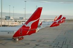 Flygplan av Qantas Arkivbild