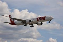 Flygplan av TAM-flygbolag som flyger i himlen, boeing 777 royaltyfri bild