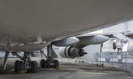 Flygplan Boeing 747 i museet av astronautik och flyg Arkivfoto