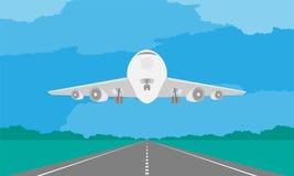 Flygplan eller flygplanlandning eller start på landningsbana i dagillustration på blå himmel Royaltyfri Fotografi