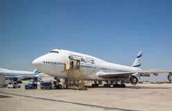 """Flygplan för EL AL Israel Airlines för Boeing 747 †4X-ELH"""" i Ben-Gu Arkivbilder"""