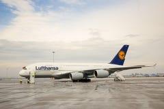 Flygplan för flygbuss A380 Arkivbild