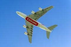 Flygplan för flygbuss A380-841 av emiratflygbolag Royaltyfri Foto