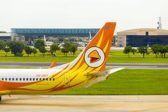 Flygplan för luft för Nok för svansavsnitt som åker taxi Don Mueang H Arkivbild