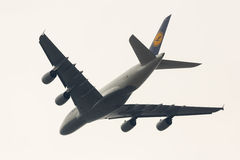 Flygplan för Lufthansa flygbuss A380 Royaltyfria Foton