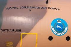 Flygplan för Royal Jordanian flygvapenLockheed C-130H Hercules militärt transport Arkivfoto