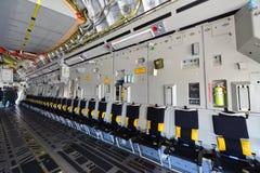 Flygplan för transport för C-17 Globemaster III för U.S.A.F. Boeing militärt på skärm på Singapore Airshow Royaltyfri Foto