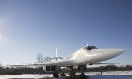 Flygplan för Tupolev Tu-160 på Poltava flygmuseum Royaltyfria Bilder
