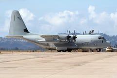 Flygplan för USA-flottaLockheed C-130 Hercules transport Arkivfoton