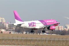 Flygplan för Wizz Air flygbuss A320 Royaltyfri Fotografi