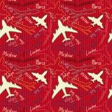 Flygplan flygplan, plan flygvektor sömlöst p royaltyfri illustrationer