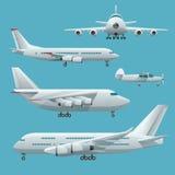Flygplan, flygplan, trafikflygplanpassagerarereklamfilm, privat, affärsstråle och last Modern plan stiluppsättning av flygplan Royaltyfria Bilder