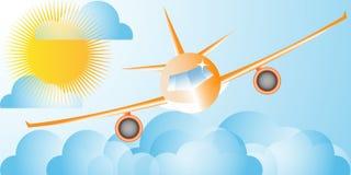 Flygplan i himlarna Arkivbilder