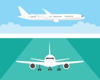 Flygplan i himlen och på landningsbanan Trafikflygplan i sida och främre sikt Plan stil Royaltyfria Foton