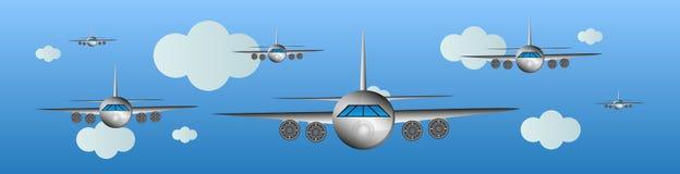 Flygplan i luften - flygshow Arkivfoto