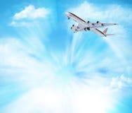 Flygplan i skyen Beståndsdelar av denna avbildar möblerat av NASA illustration 3d Arkivbilder