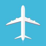 Flygplan i skyen Det kommersiella flygplanet i nedersta sikt, beskådar underifrån royaltyfri illustrationer
