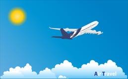 Flygplan i tropiskt ferieläge Arkivbild