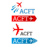 Flygplan - illustration för begrepp för vektorlogomall Minsta klassisk stil Flygplankonturtecken för trans.företag Royaltyfri Foto