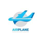 Flygplan - illustration för vektorlogobegrepp Abstrakt flygplankonturtecken stock illustrationer