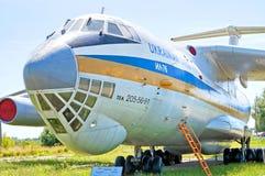 Flygplan Ilyushin-Il 76 på museet för Zhuliany tillståndsflyg i Kyiv, Ukraina Arkivfoto