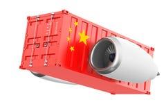 Flygplan Jet Engine med Kina flaggasändningsbehållaren rende 3D Royaltyfria Foton