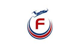 Flygplan Logo Initial F Royaltyfri Bild