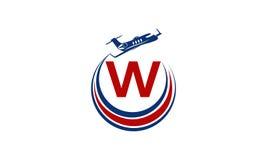 Flygplan Logo Initial W Arkivfoto